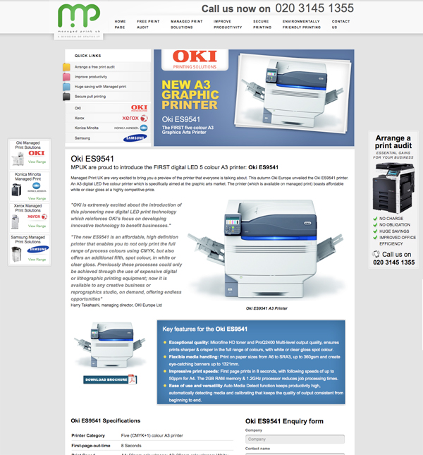 oki es9541 printer on Managed Print UK website