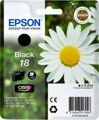 Epson Black No.18 Ink Cartridge (175 pages) for the Epson Expression Home XP-312 A4 A4 Multifunction Printer