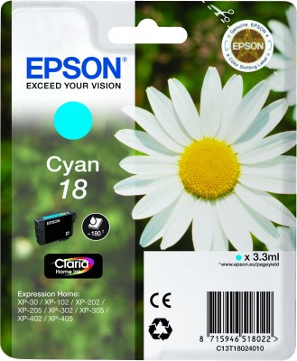 Epson Cyan No.18 Ink Cartridge (180 pages) for the Epson Expression Home XP-312 A4 A4 Multifunction Printer