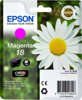 Epson Magenta No.18 Ink Cartridge (180 pages) for the Epson Expression Home XP-312 A4 A4 Multifunction Printer