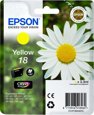Epson Yellow No.18 Ink Cartridge (180 pages) for the Epson Expression Home XP-312 A4 A4 Multifunction Printer