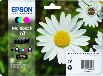 Epson CMYK Multipack No.18 Ink Cartridge (CMY: 180 pages, K: 175 pages) for the Epson Expression Home XP-312 A4 A4 Multifunction Printer