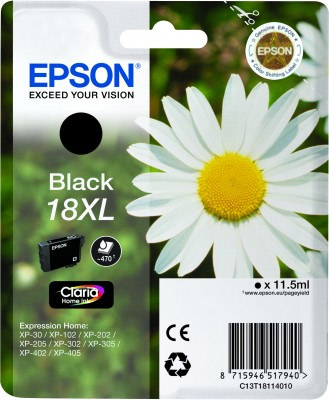 Epson Black No.18XL Ink Cartridge (470 pages) for the Epson Expression Home XP-312 A4 A4 Multifunction Printer