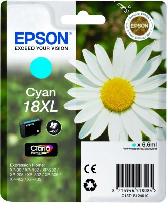 Epson Cyan No.18XL Ink Cartridge (450 pages) for the Epson Expression Home XP-312 A4 A4 Multifunction Printer