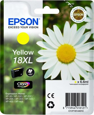 Epson Yellow No.18XL Ink Cartridge (450 pages) for the Epson Expression Home XP-312 A4 A4 Multifunction Printer