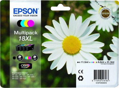 Epson CMYK Multipack No.18XL Ink Cartridge (CMY: 450 pages, K: 470 pages) for the Epson Expression Home XP-312 A4 A4 Multifunction Printer